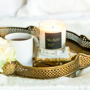 Candle burning by Len + McAddy Home Candle Co.