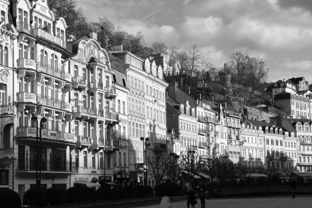 Sun sets on Karlovy Vary.