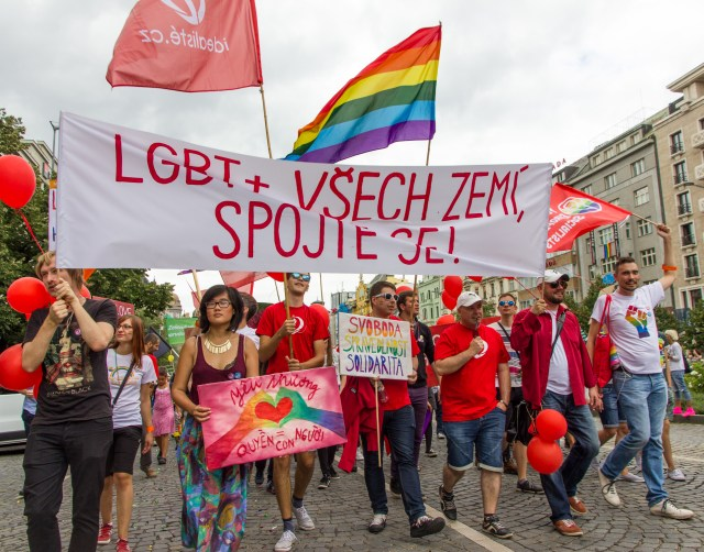 Some protesters paraded in solidarity for LGBT rights internationally.