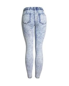 New Arrival Women Fashion Sexy Elastic Waist Tight Denim Skinny Legging Pencil Washed Blue Jeans