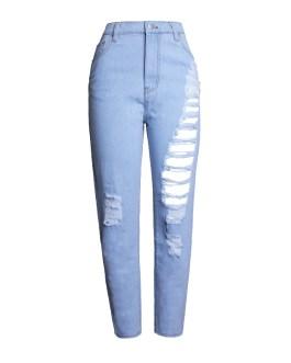 Fashion light blue women's straight ripped jeans hole denim pants high waist cotton loose pants