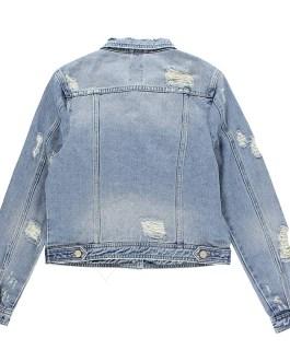 Women Casual Denim Jacket Jeans Tops Half Sleeve Trucker Coat Outerwear Girls Fashion Slim Outer coat Windbreaker