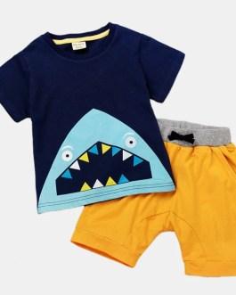 Boy's Shark Cartoon Print Short Sleeves Casual Clothing sets