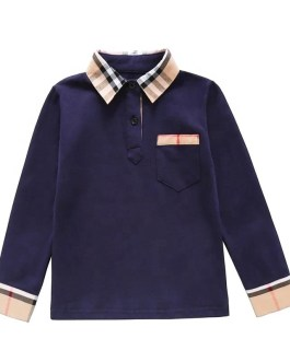 botique  branded clothes kids and girls long sleeve plaid polo shirt