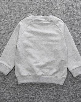 Hot Sale Wholesale Black Grey Long Sleeve Cotton Boutique Toddler Baby Boy Sweatshirt