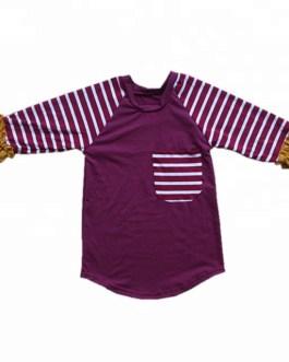 Boutique Baby Boy Girls Stripes Raglan Blouse Children Fall Cotton Tops Wholesale Boys T-shirt