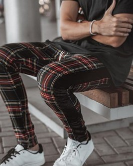 Check Print Custom Tapered Fit Casual Zipper Pocket Jogger Pants Collection