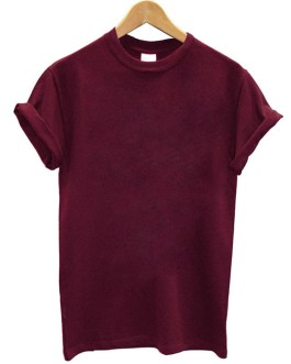 Casual Women Streetwear T-shirt Solid Color Loose fitting Short Sleeve T Shirt Collection