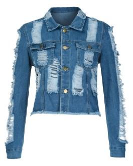 Hip Hop Style Winter Wears Scratch Long Sleeve Denim Jacket Women Collection