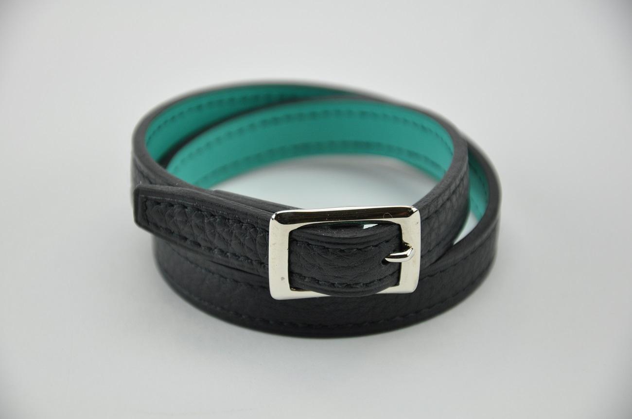 Bracelet en cuir taurillon, doublé en veau turquoise, pour femme ou homme. France