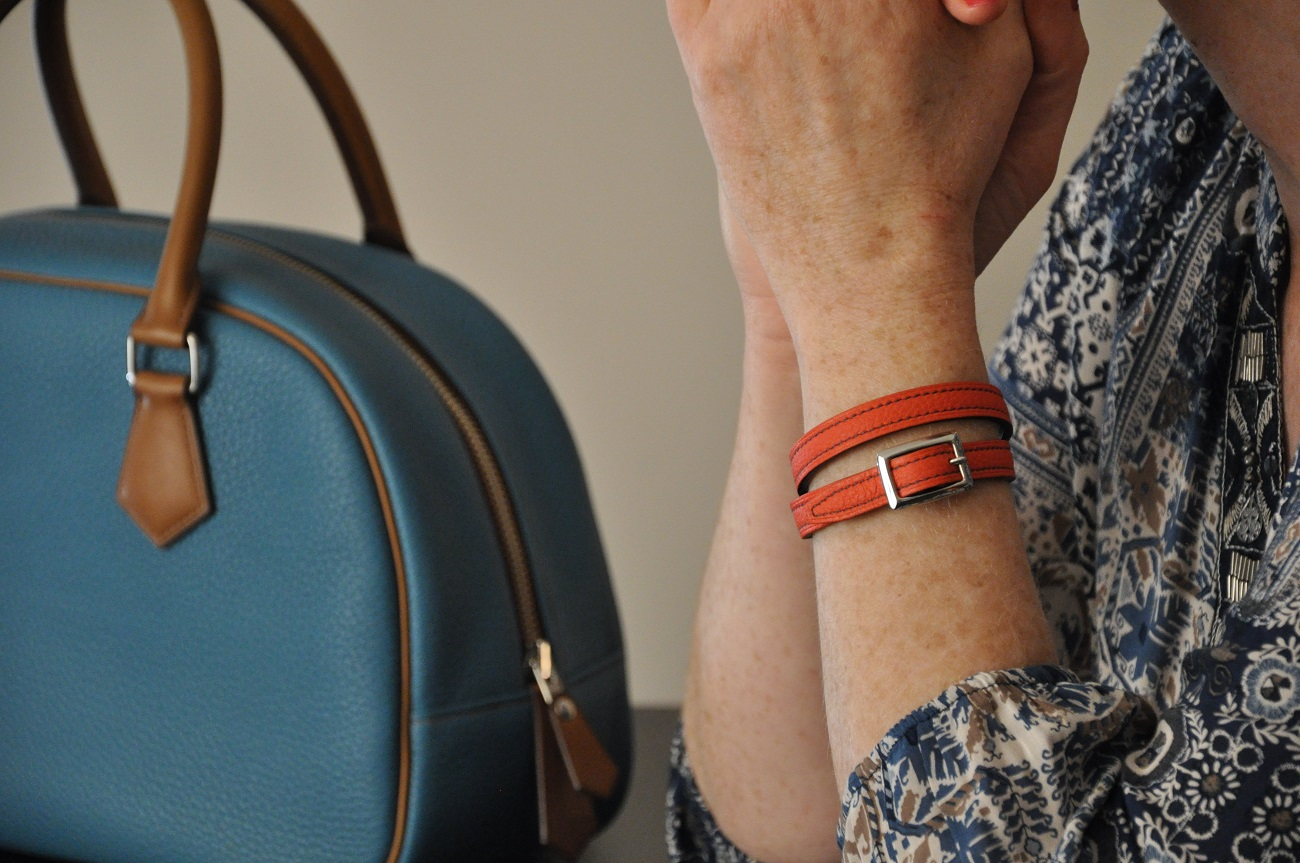 Bracelet in leather. Fashion accessories made in taurillon leather by LE NOËN in France