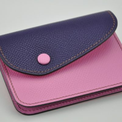 Change purse Duo in grained calfskin pink and violet. Made in France by luxury crafstman.