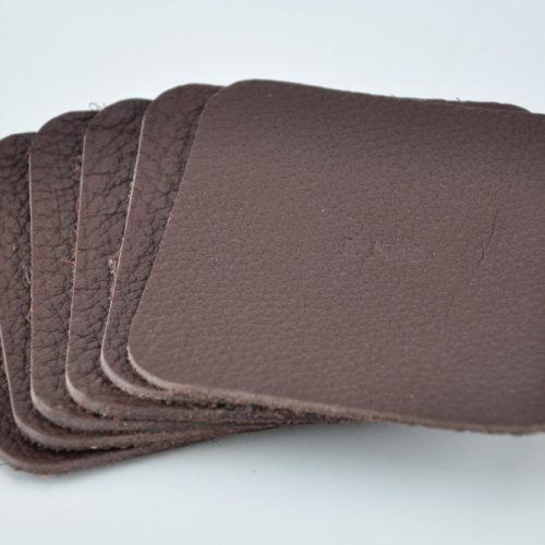 Dessous de verre en cuir taurillon marron - Fabrication française