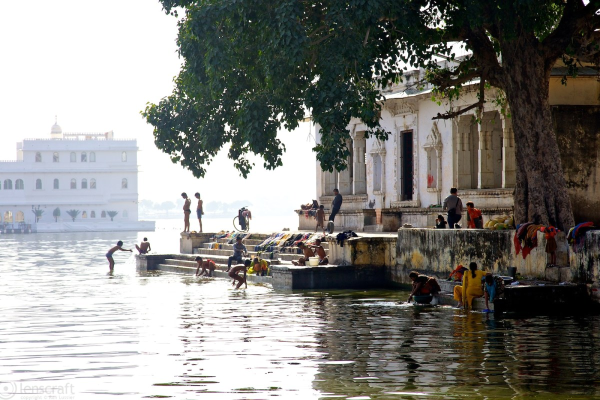 bathing at the temple / udaipur, india