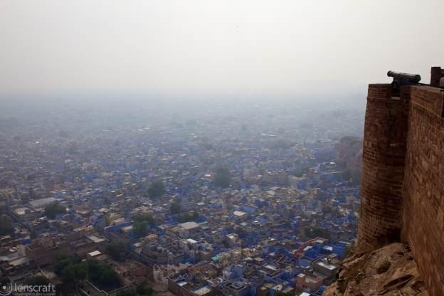 looking down onto the blue city / jodhpur, india