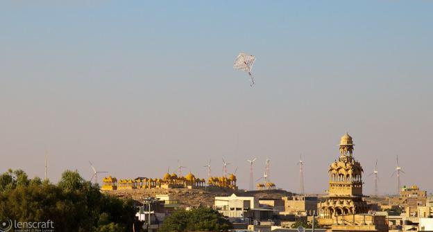 the cenotaph and the wind farm / jaisalmer, india