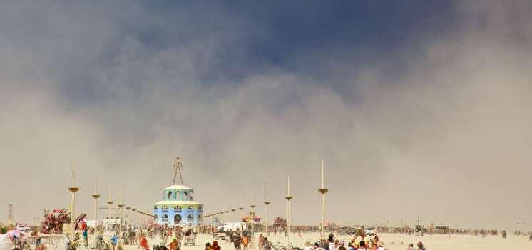 dust storm over the man / black rock city, nevada