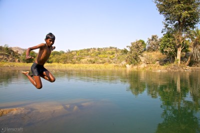 the swimmer / near udaipur, india