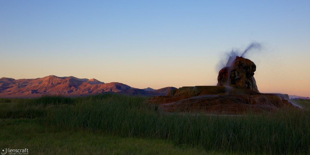 last light at fly geyser / fly ranch, nevada