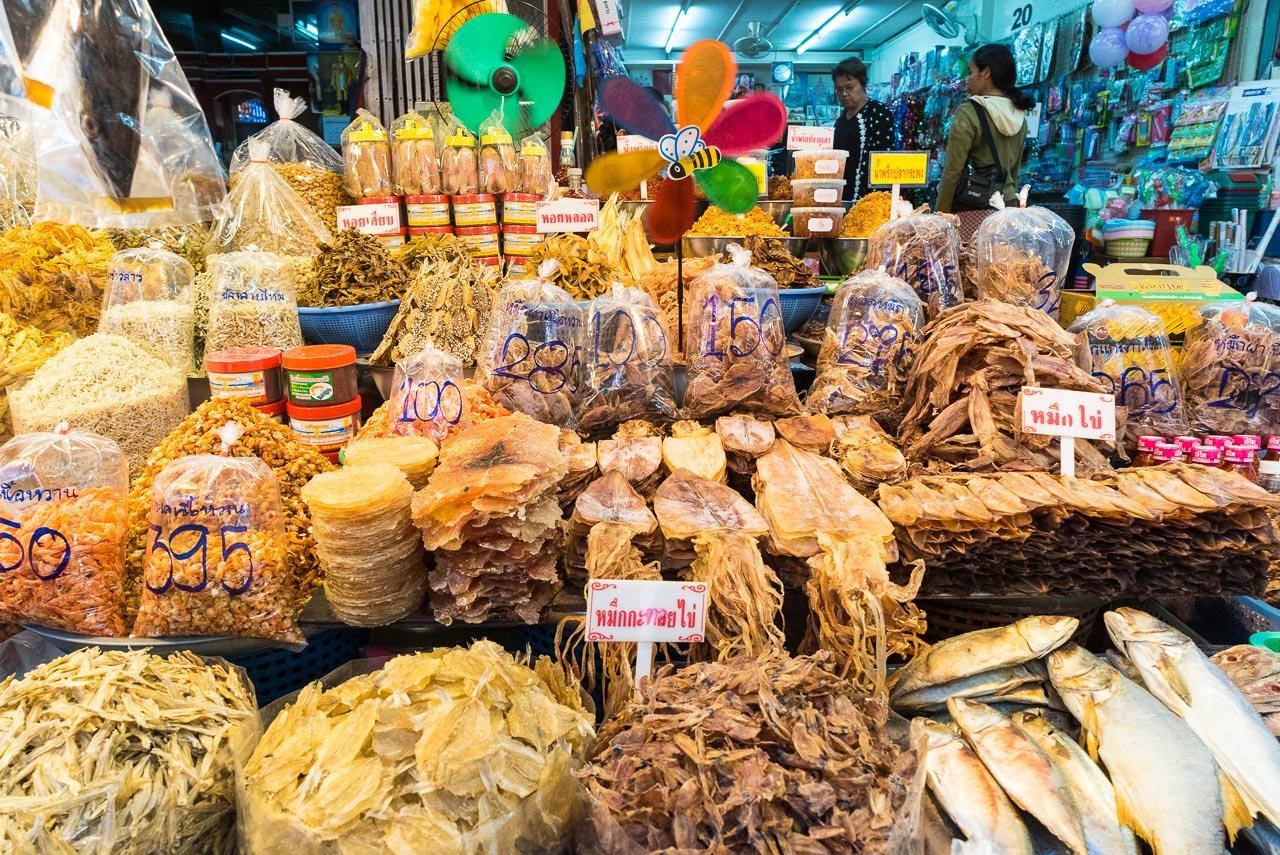 many dried fish / hua hin, thailand
