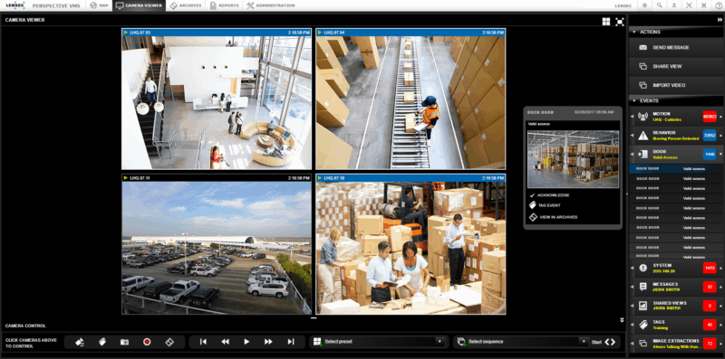 PVMS 4 Camera View - Action Panel