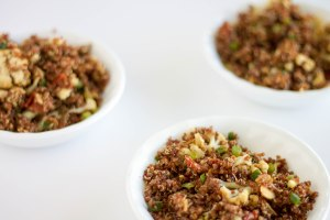 bowls of cauliflower almond quinoa