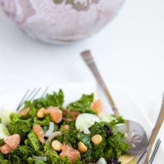 kale citrus berry salad with balsamic vinaigrette
