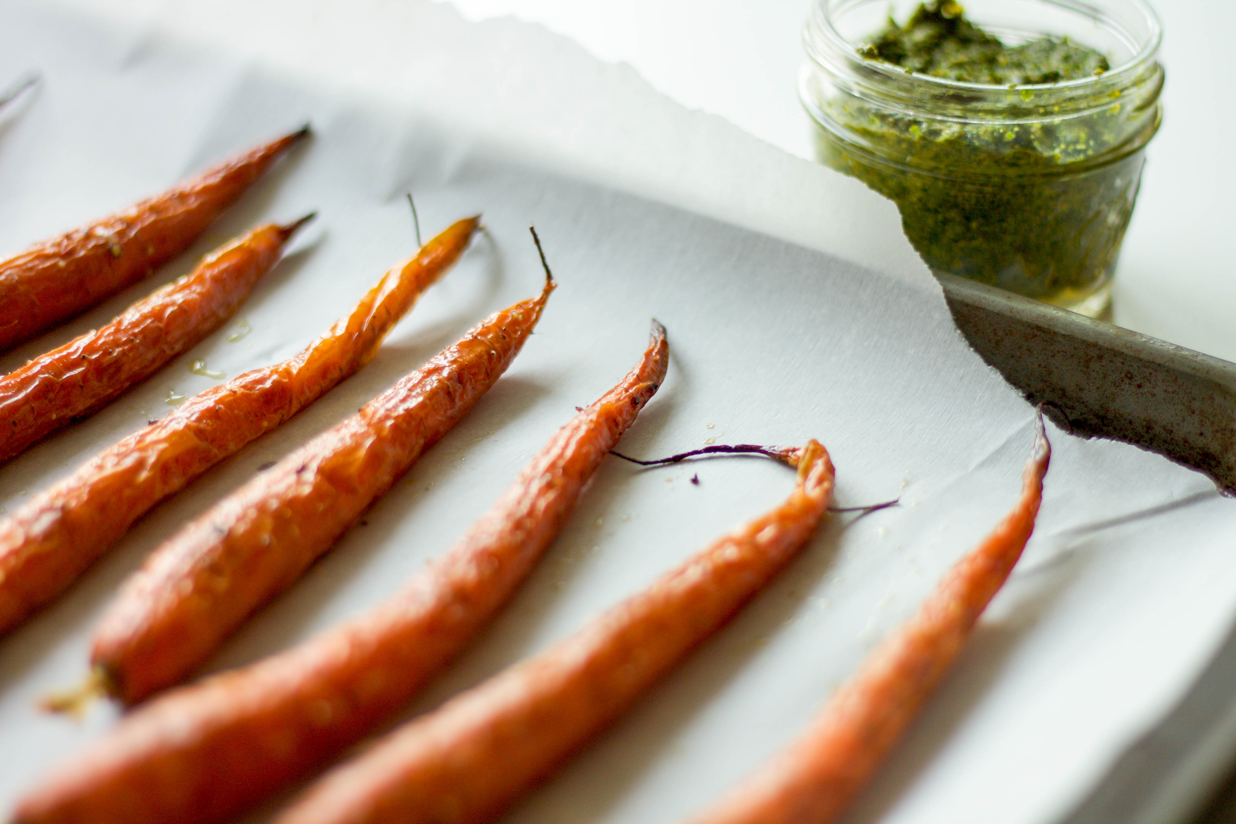 roasted carrots and carrot greens pesto