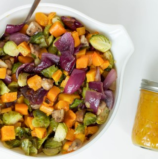 sheet pan harvest salad with honey mustard vinaigrette