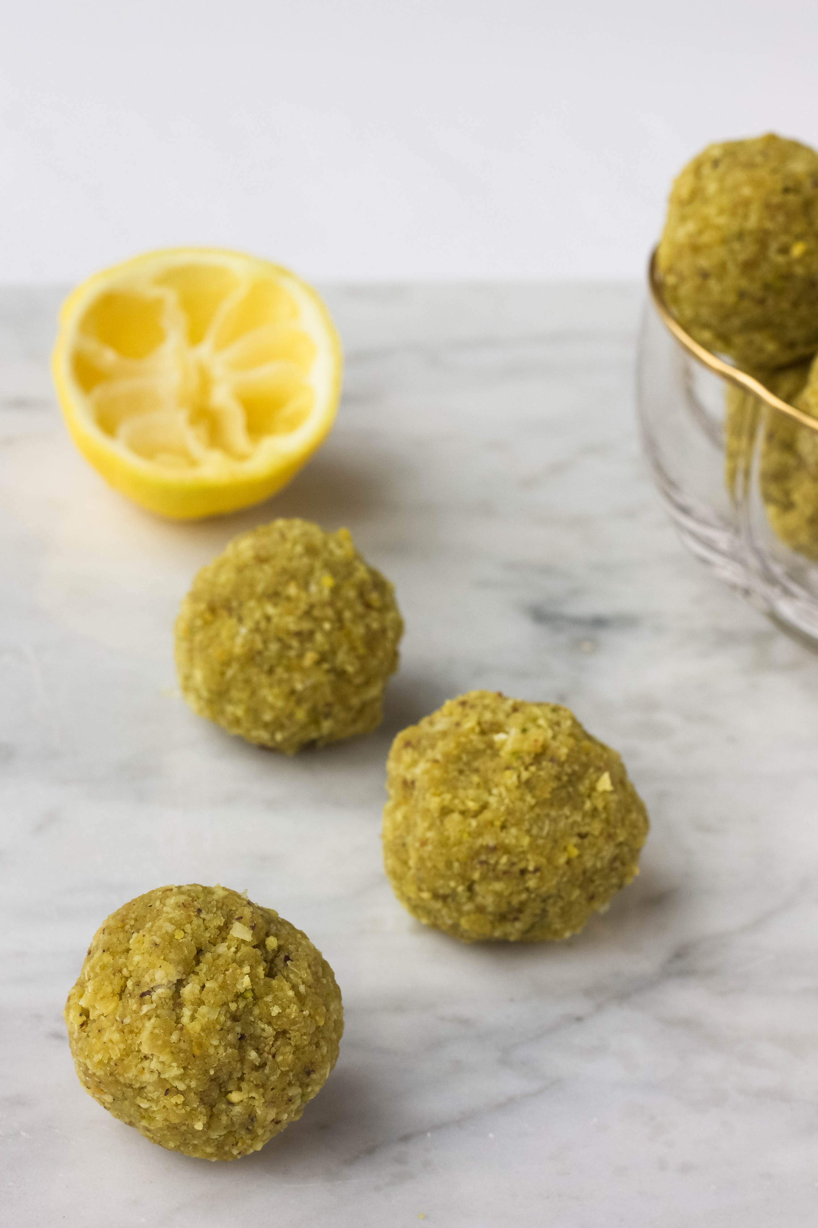 lemon coconut pistachio bliss balls