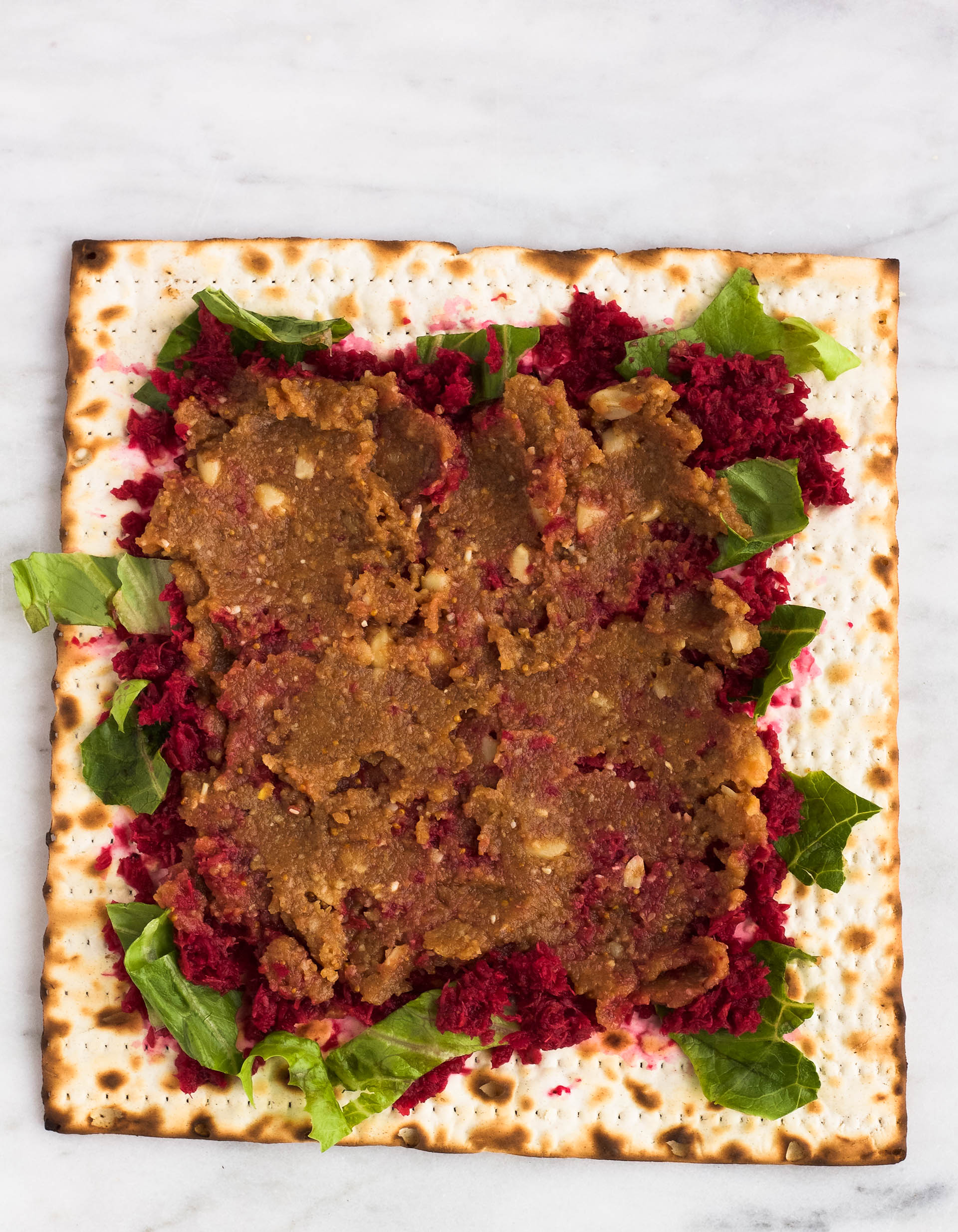 matzah with romaine lettuce, charoset and horseradish