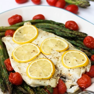 lemon pepper flounder with asparagus and tomatoes