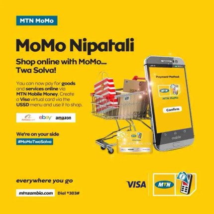 MTN MoMo can allow you to shop online through VISA