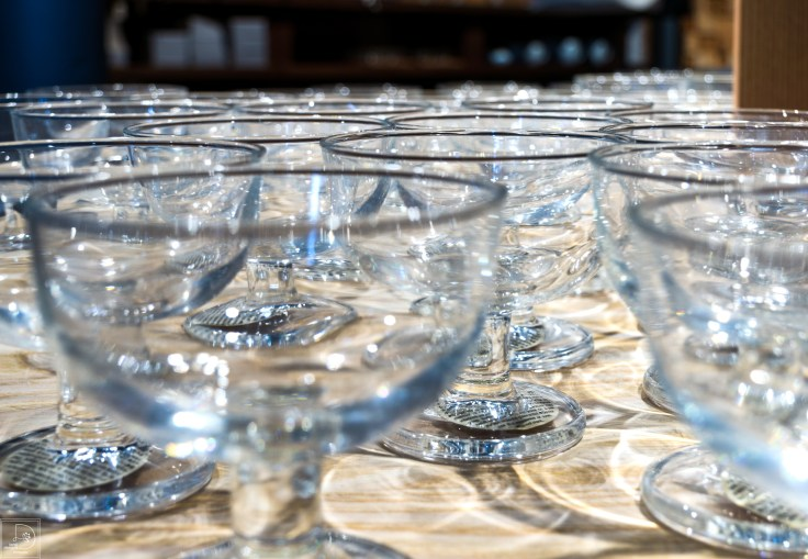 Muji display champagne glasses