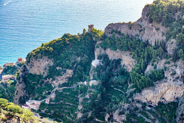 Villa Cimbrone views church on hill