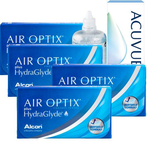 air optix hydraglyde 4 kutu set, aylık Lens