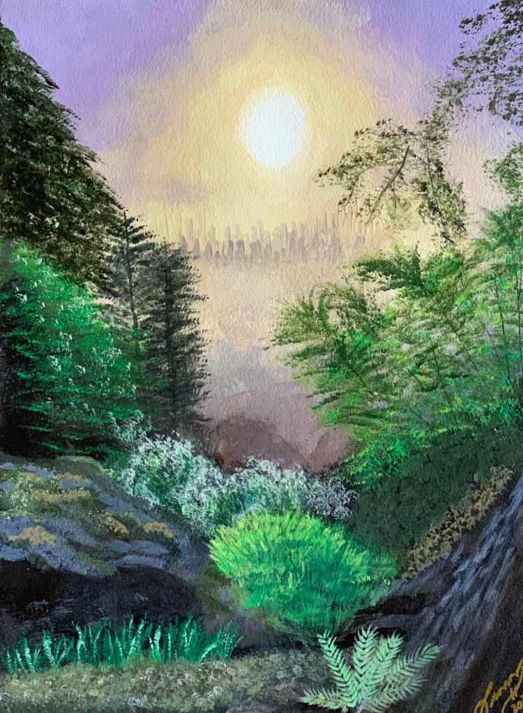 City in the Mist landscape painting by Leo Art Creations