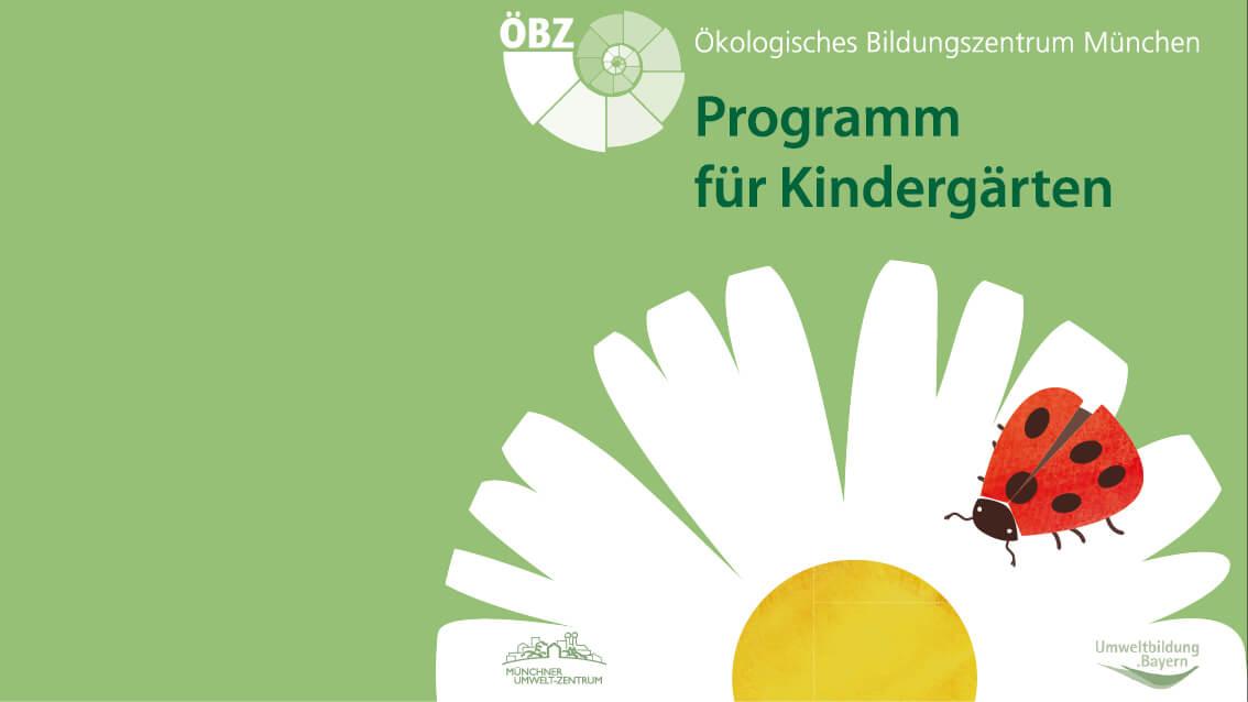 """Entwicklung von sechs Illustrationen für das Kindergarten-Programmheft des Ökologischen Bildungszentrum München passend zu den Kursinhalten: """"Schnecke ÖBZ"""", """"Naturerkundung und Naturerfahrung"""", """"Leben mit der Natur"""", """"Kreatives Gestalten in und mit der Natur"""" """"Leben in der Einen Welt – Ressourcen, Energie, Klima, Begegnungen mit anderen Kulturen"""", """"Vier Elemente"""", """"Ernährung – rund um unsere Lebensmittel"""""""