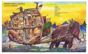 Prehistoric caravan illustrated by Leo Hartas
