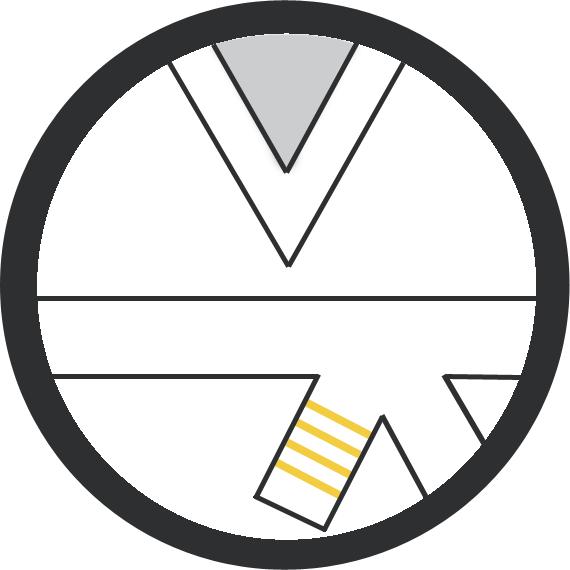 Leominster Martial Arts White Belt 4 yellow stripe icon