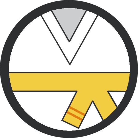 Leominster Martial Arts Yellow Belt 2 orange stripe icon