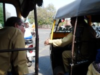 Here are two rickshaw drivers, talking to each other