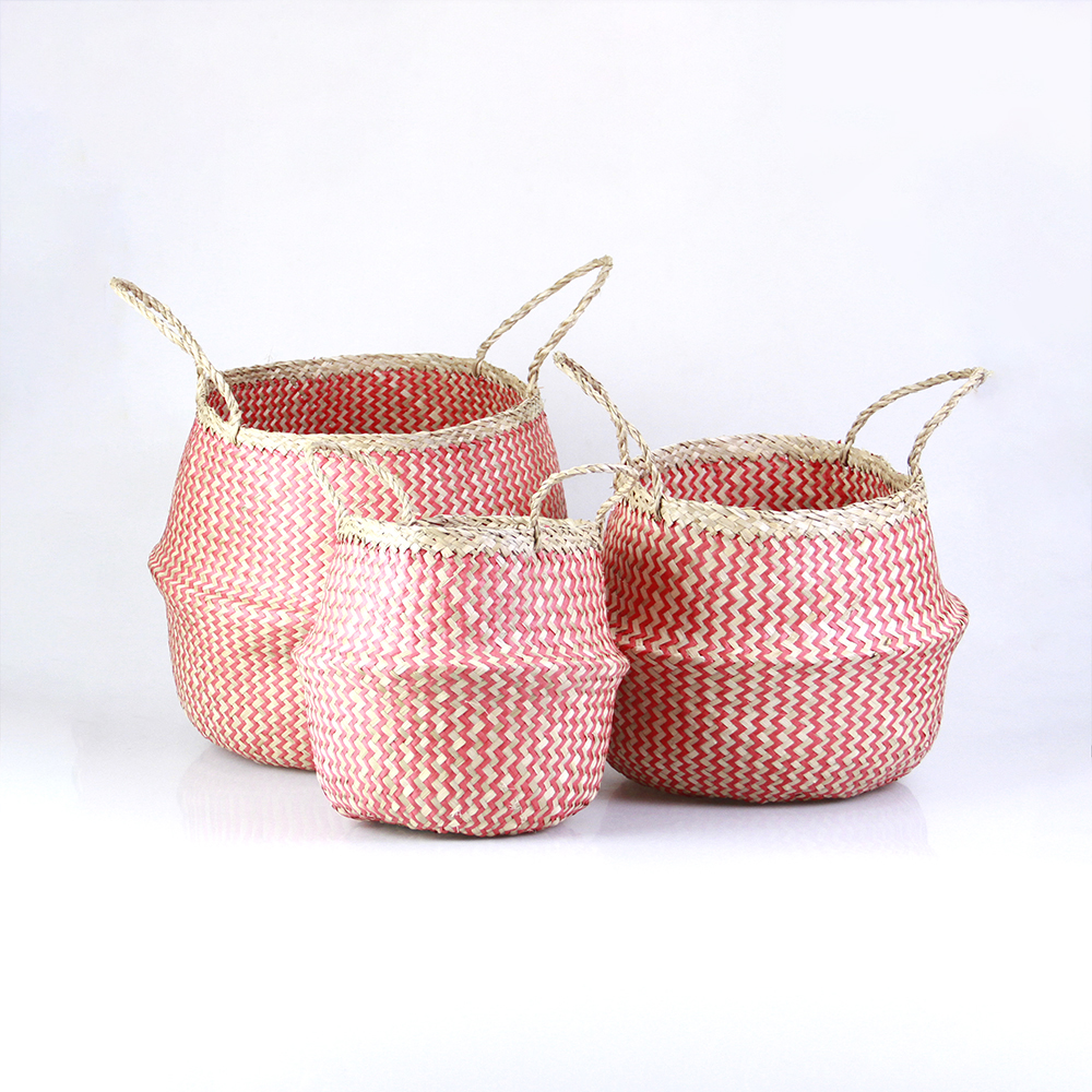Seagrass Belly Basket - Red Zigzag pattern