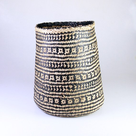 Seagrass Cylinder Basket – Black and Natural pattern
