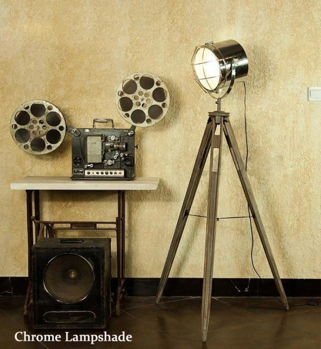 Solid Wood Tripod Chrome Searchlight Floor Lamp