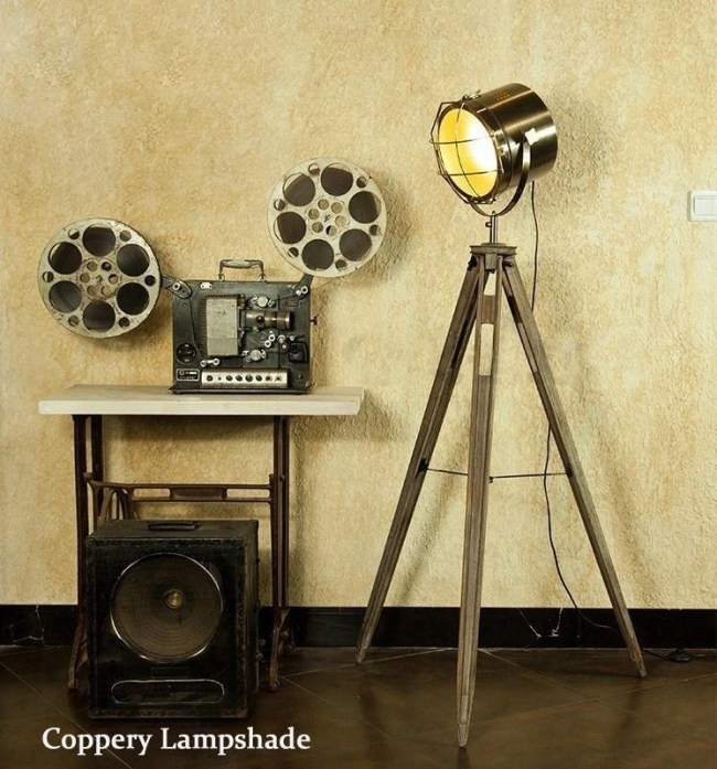 Nordic american searchlight lamp on wood tripod solid wood tripod searchlight floor lamp aloadofball Gallery