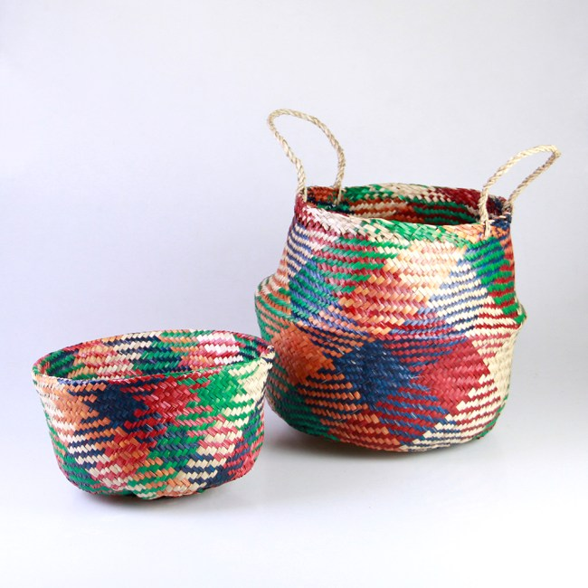 Seagrass Belly Basket - Colorful Plaid
