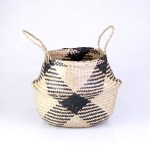 Seagrass Belly Basket - Natural Plaid