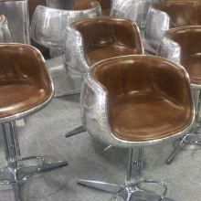 Mos Neata Vintage Aviation Aluminium Bar Stools with Genuine Leather