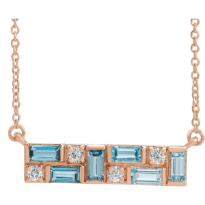 14K Rose Blue Multi-Gemstone & 1:8 CTW Diamond Bar Necklace from Leonard & Hazel™
